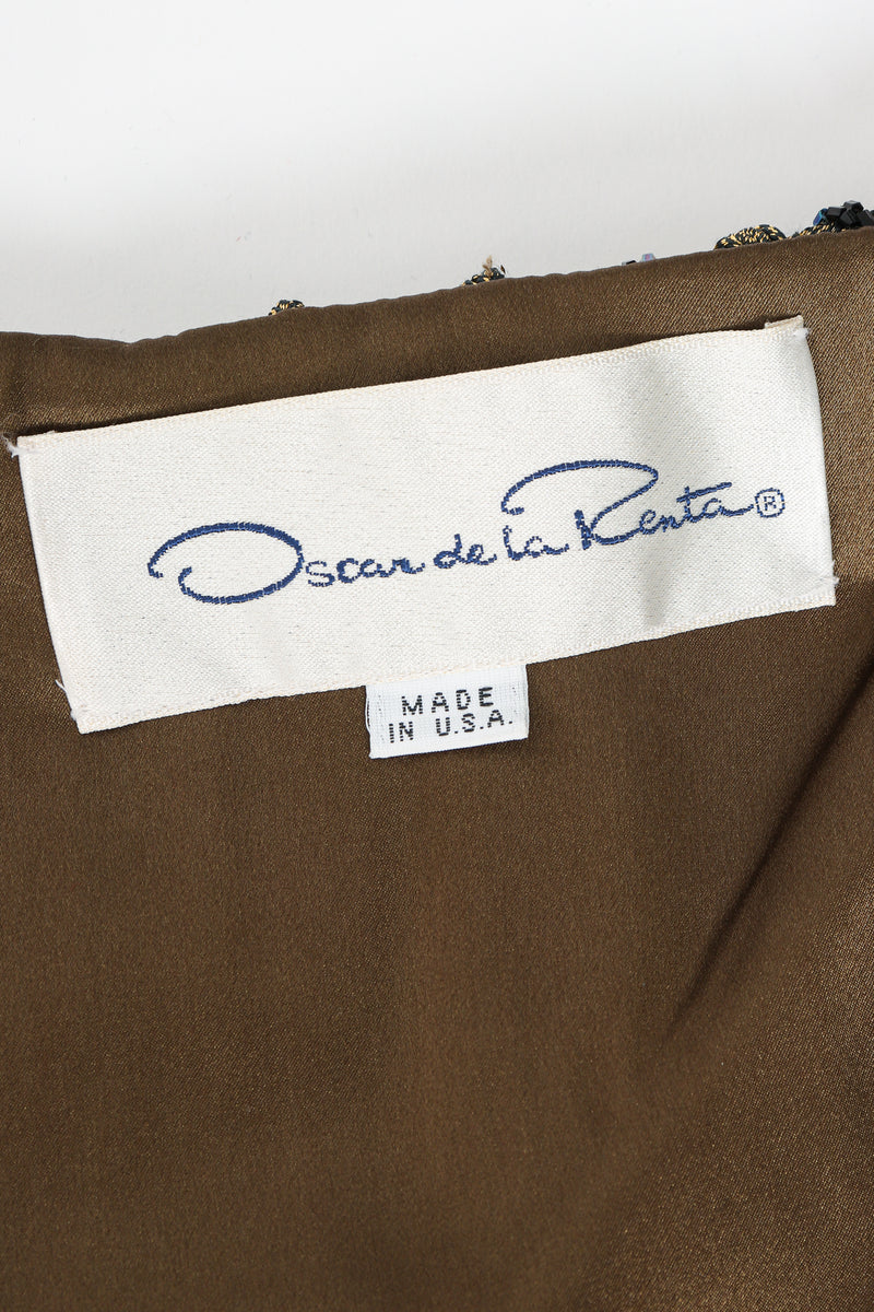 Vintage Oscar de la Renta Jeweled Lamé Wrap Skirt Set Label at Recess Los Angeles
