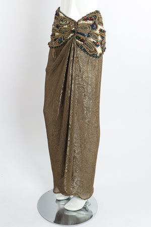 Vintage Oscar de la Renta Jeweled Lamé Wrap Skirt on Mannequin angle at Recess LA