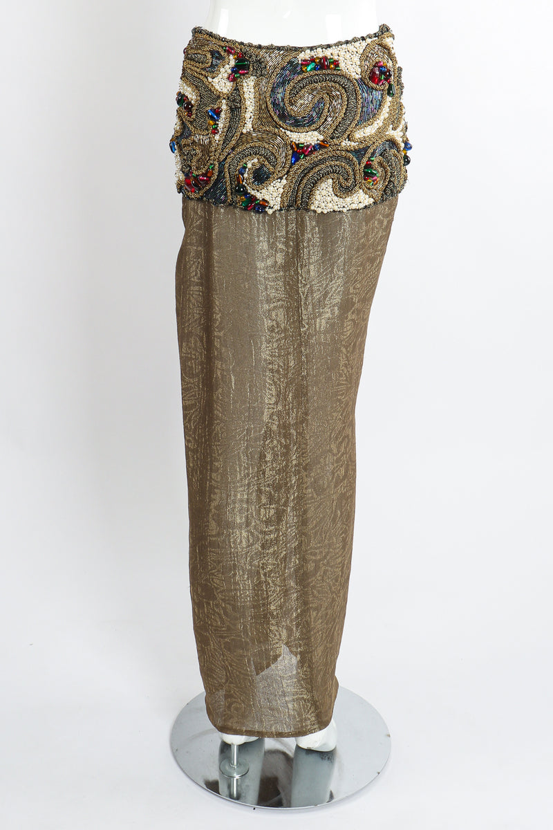 Vintage Oscar de la Renta Jeweled Lamé Wrap Skirt on Mannequin Back at Recess LA