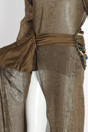 Vintage Oscar de la Renta Jeweled Lamé Wrap Skirt on Mannequin wrap detail at Recess LA