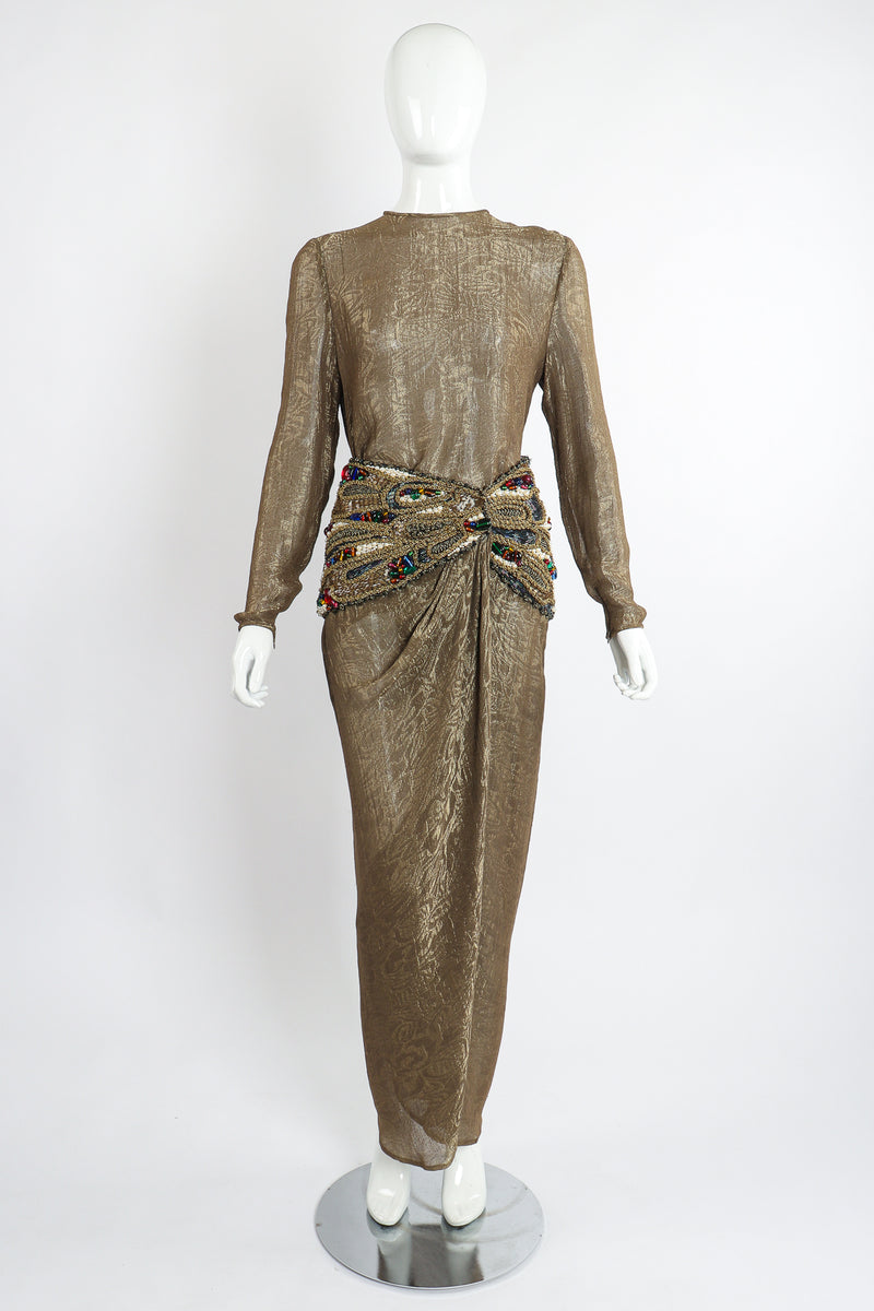 Vintage Oscar de la Renta Jeweled Lamé Wrap Skirt Set on Mannequin Front at Recess LA