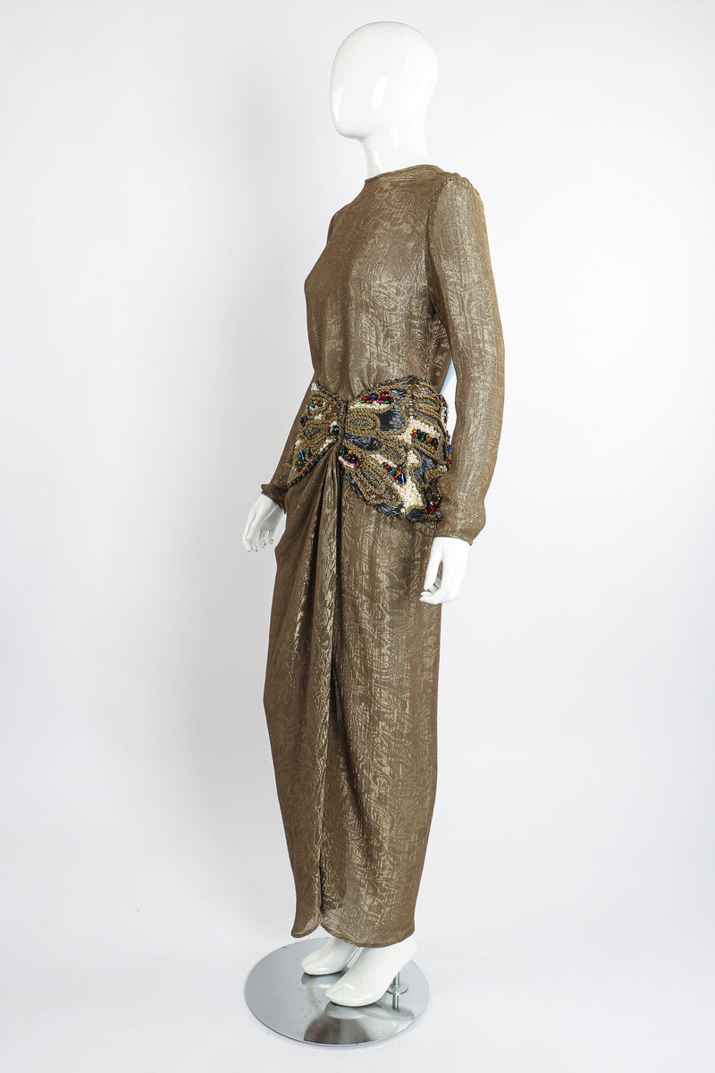 Vintage Oscar de la Renta Jeweled Lamé Wrap Skirt Set on Mannequin Side at Recess LA