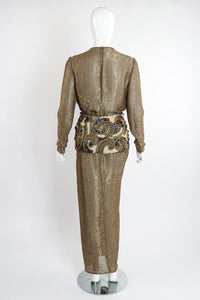 Vintage Oscar de la Renta Jeweled Lamé Wrap Skirt Set on Mannequin Back at Recess LA