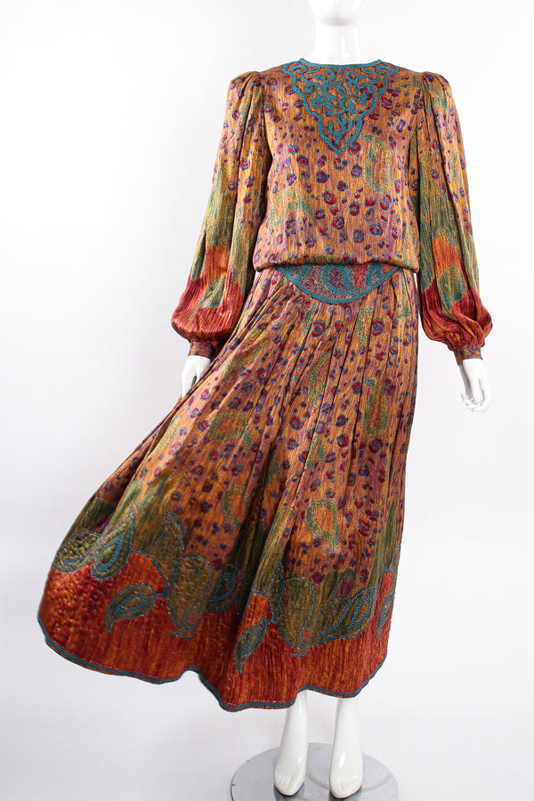 Vintage Oscar de la Renta Floral Embroidered Blouse & Skirt Set on Mannequin breeze at Recess LA