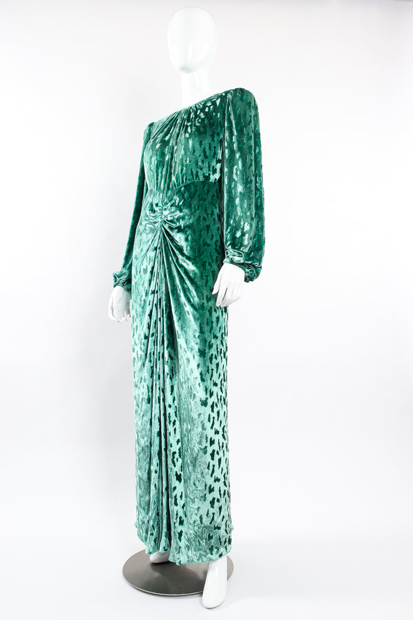 Vintage Oscar de la Renta Silk Velvet Balloon Sleeve Gown on Mannequin front angle at Recess LA