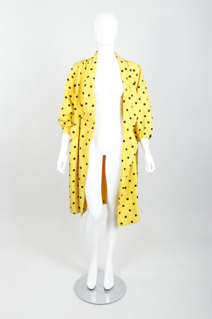 Vintage Oscar de la Renta Polka Dot Shawl Collar Dress on Mannequin open at Recess LA