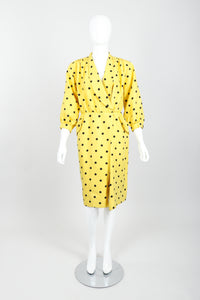 Vintage Oscar de la Renta Polka Dot Shawl Collar Dress on Mannequin front at Recess LA