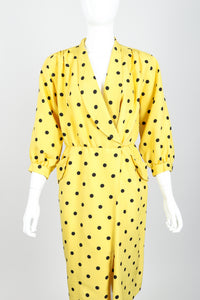 Vintage Oscar de la Renta Polka Dot Shawl Collar Dress on Mannequin front crop at Recess LA