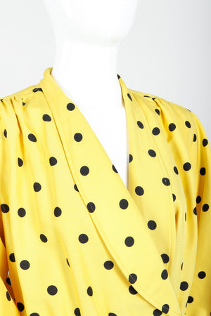 Vintage Oscar de la Renta Polka Dot Shawl Collar Dress on Mannequin neckline at Recess LA
