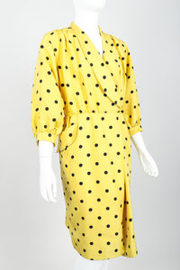 Vintage Oscar de la Renta Polka Dot Shawl Collar Dress on Mannequin angle crop at Recess LA