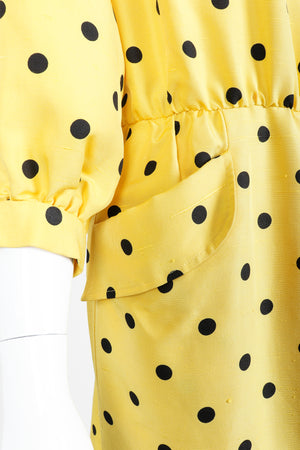 Vintage Oscar de la Renta Polka Dot Shawl Collar Dress on Mannequin pocket detail at Recess LA