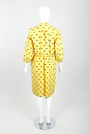 Vintage Oscar de la Renta Polka Dot Shawl Collar Dress on Mannequin back at Recess LA