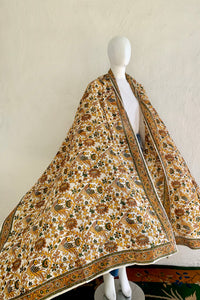 Vintage Oversized Handblocked Indian Silk Shawl At Recess Los Angeles