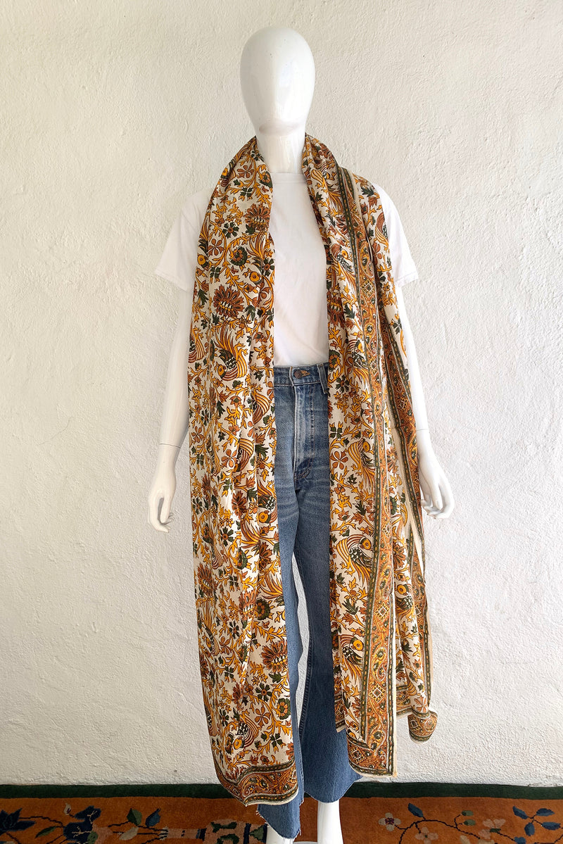 Vintage Oversized Handblocked Indian Silk Shawl On Mannequin scarf At Recess Los Angeles