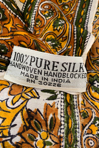Vintage Oversized Handblocked Indian Silk Shawl label At Recess Los Angeles