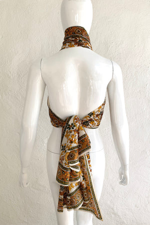 Vintage Oversized Handblocked Indian Silk Shawl On Mannequin halter At Recess Los Angeles