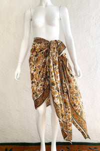 Vintage Oversized Handblocked Indian Silk Shawl On Mannequin sarong At Recess Los Angeles