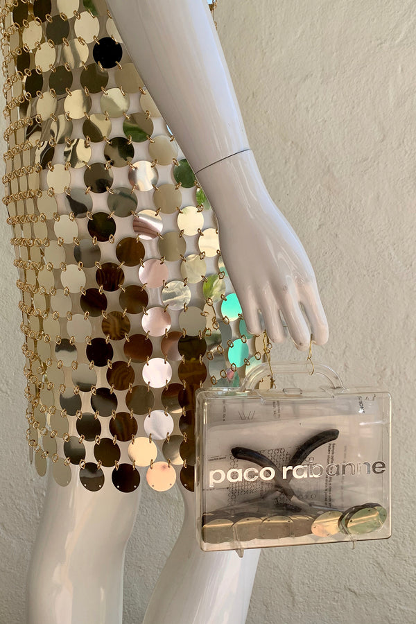 Vintage Paco Rabanne 1996 Do It Yourself Rhodoid Disc Dress on Mannequin with case at Recess
