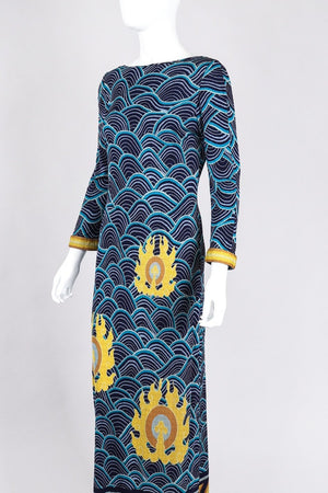 Recess Los Angeles Vintage Argos Dini 1970s Palata Pepoli Japanese Woodblock Print Silk Jersey Dress
