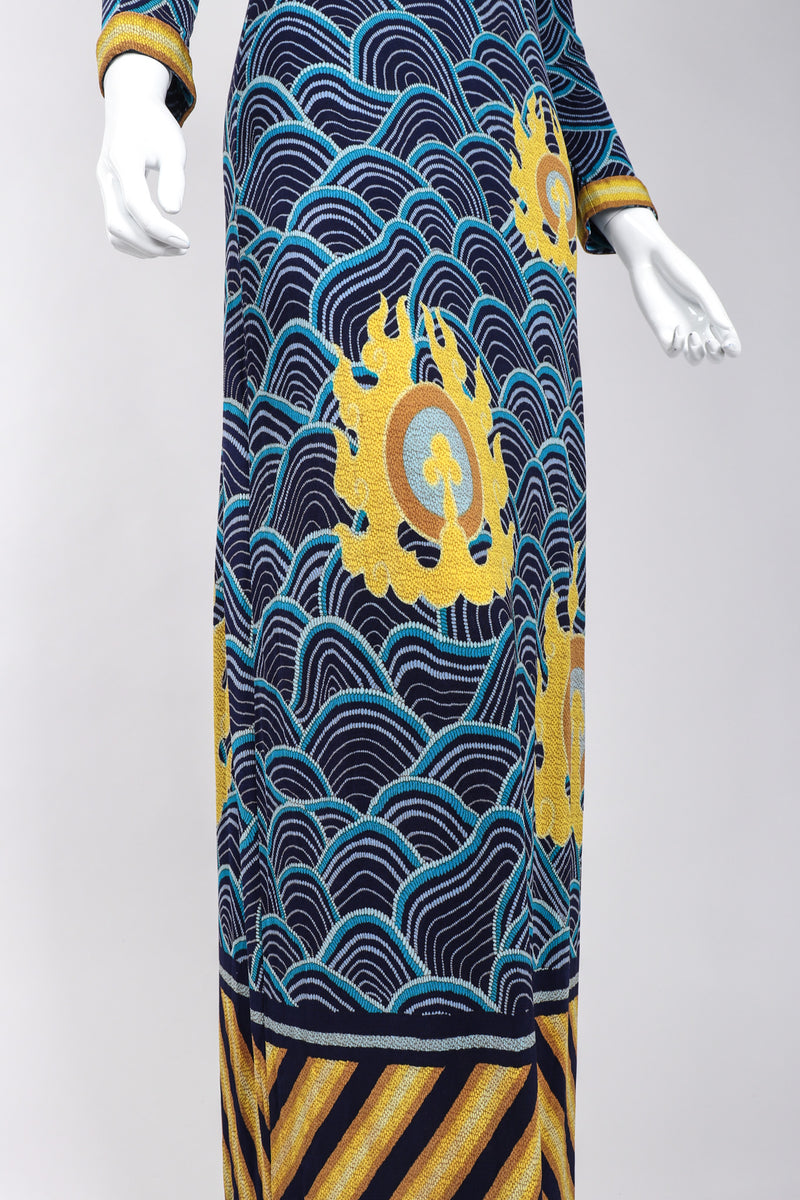 Recess Los Angeles Vintage Palata Pepoli Japanese Woodblock Print Silk Jersey Dress
