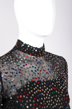 Recess Los Angeles Vintage Pat Sandler Sheer Rainbow Sequin Layered Dress