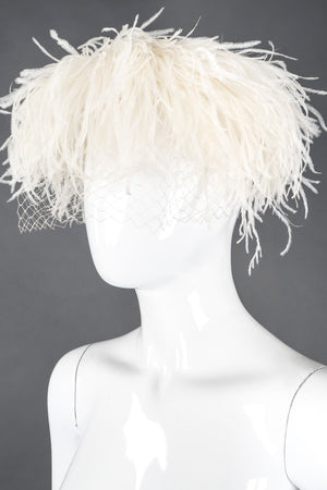 Recess Los Angeles Vintage Patrice Net Ostrich Feather Pillbox Bridal Wedding Hat