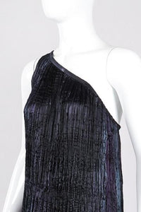 Recess Los Angeles Vintage Patricia Lester Pleated Silk Draped One-Shoulder Dress