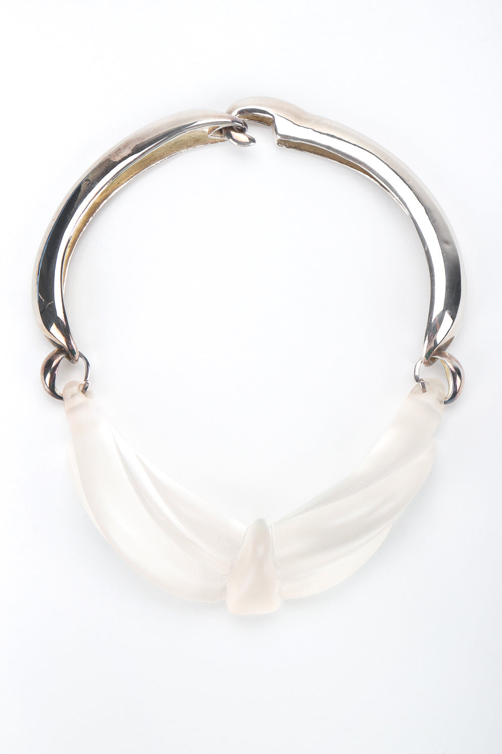 Recess Designer Consignment Vintage Frosted Sculpted Lucite Knot Collar Necklace Los Angeles Resale