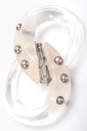 Recess Designer Consignment Vintage Patricia Von Muslin Frosted Lucite Studded Hoop Hook Earrings Los Angeles Resale