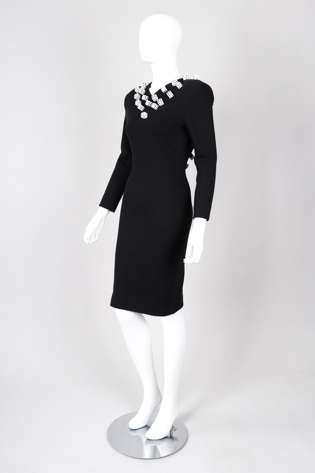Recess Los Angeles Vintage Patrick Kelly Spandex Dice Black Dress Open V-Back