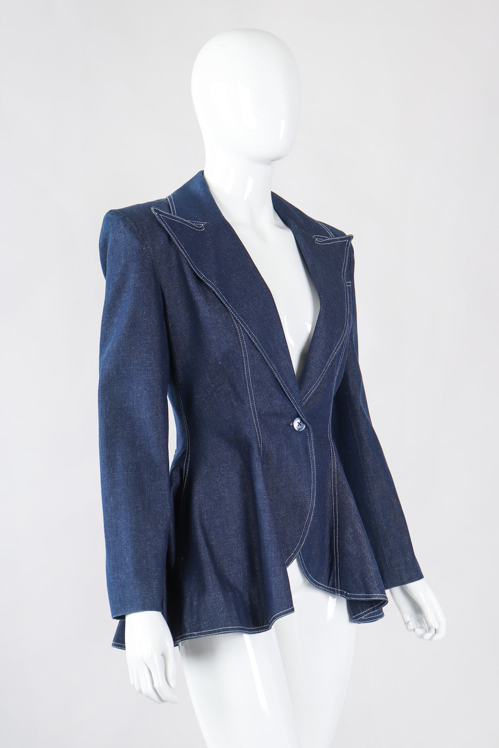 Recess Los Angeles Vintage Patrick Kelly Denim Wide Lapel Flare Peplum Jacket