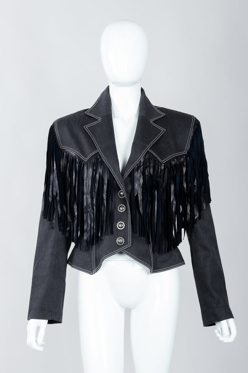 Vintage Patrick Kelly Denim Yoke Fringe Jacket Front on Mannequin at Recess