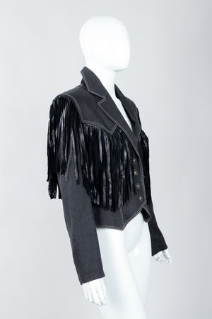 Vintage Patrick Kelly Denim Yoke Fringe Jacket Side on Mannequin at Recess