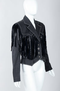 Vintage Patrick Kelly Denim Yoke Fringe Jacket Angled on Mannequin at Recess