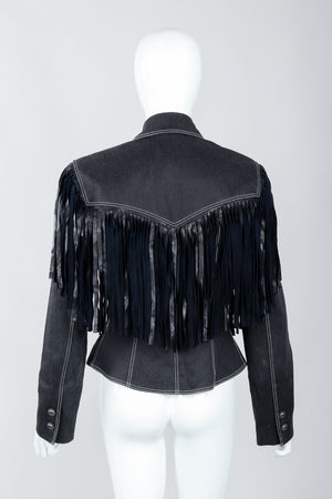 Vintage Patrick Kelly Denim Yoke Fringe Jacket Back on Mannequin at Recess