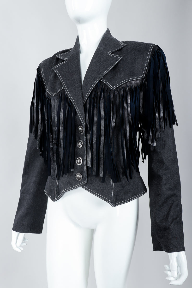 Vintage Patrick Kelly Denim Yoke Fringe Jacket Angled Front on Mannequin at Recess