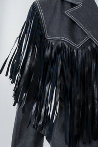Vintage Patrick Kelly Denim Yoke Fringe Jacket Movement