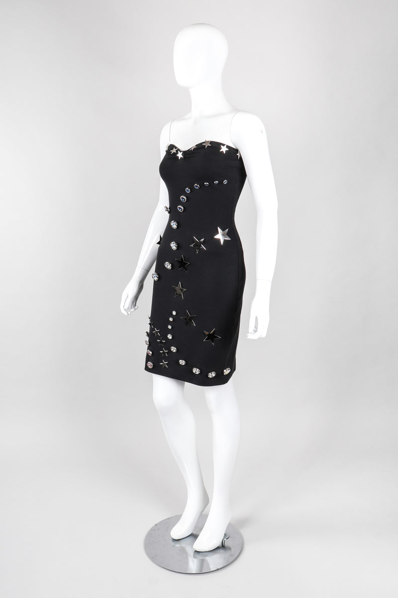 Recess Los Angeles Vintage Patrick Kelly Shooting Rare Star Crystal Button Strapless Ponte Tube Dress