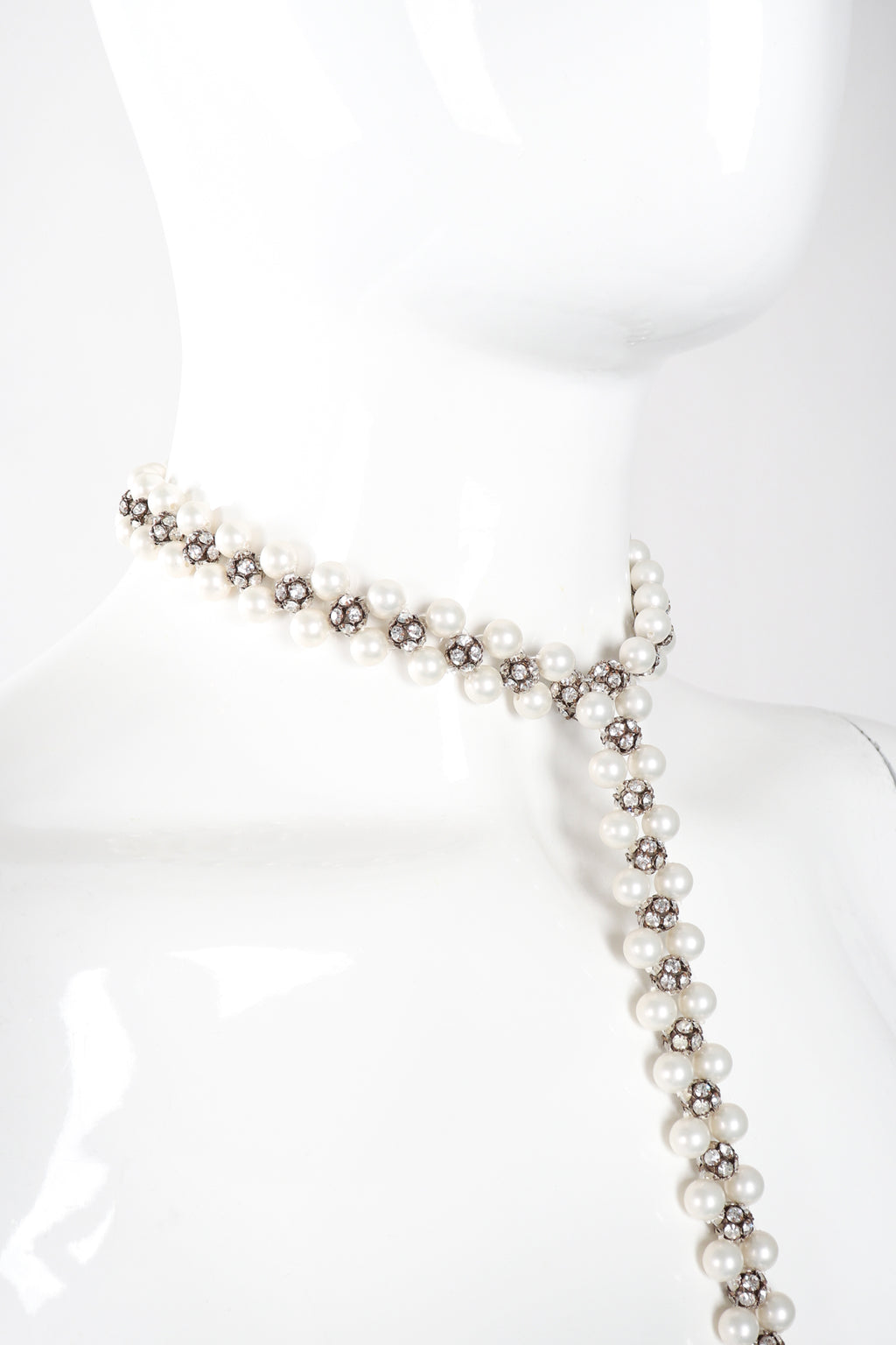 Recess Los Angeles Vintage Pearl Rhinestone Drop Bondage Lead Choker Y Necklace