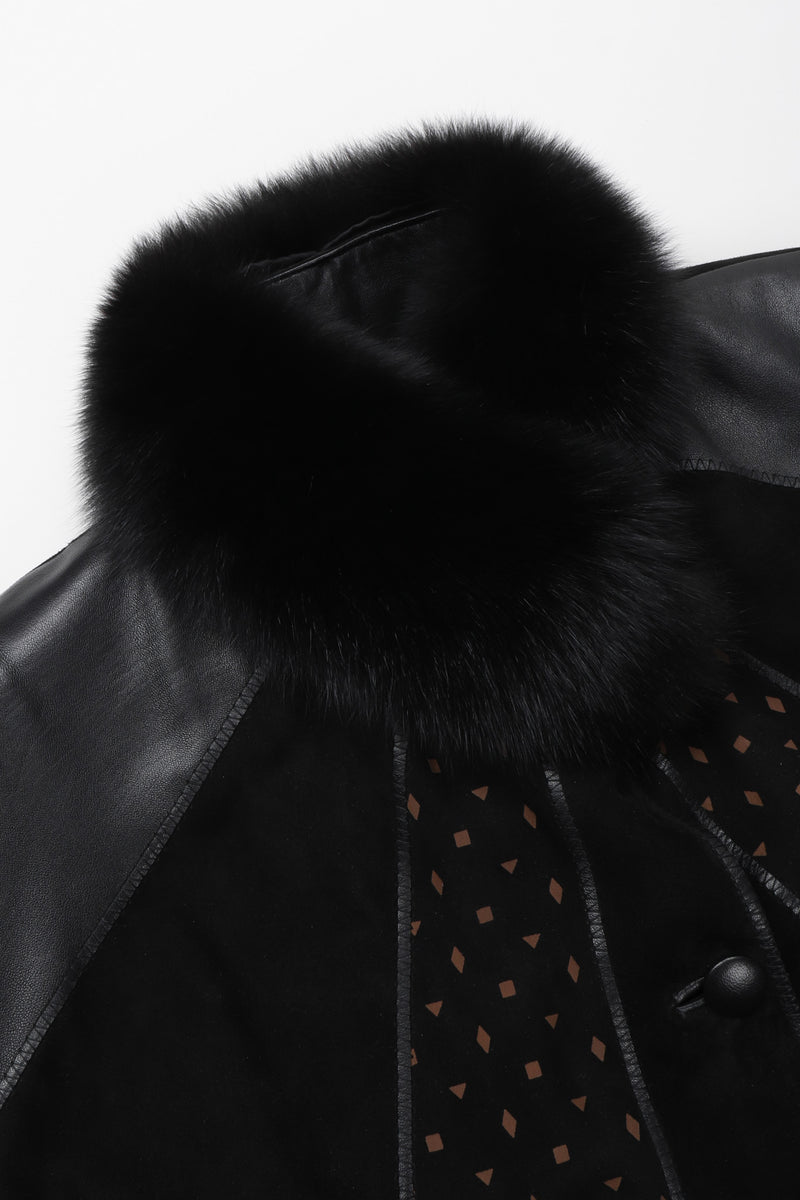 Recess Los Angeles Vintage Philippe Vallereuil Suede Leather Patchwork Fur Collar Car Coat
