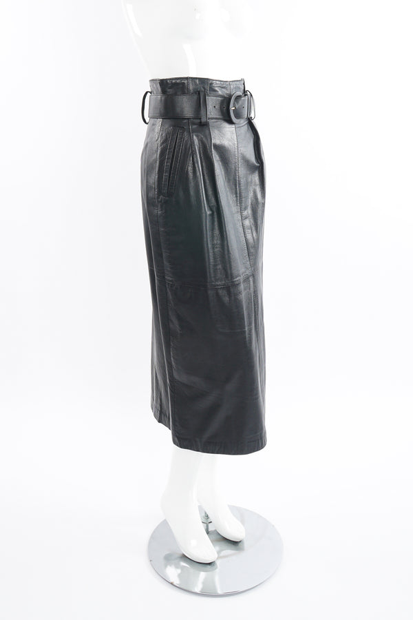 Vintage Pia Rucci Leather Belted Paper Bag Skirt on Mannequin side at Recess Los Angeles