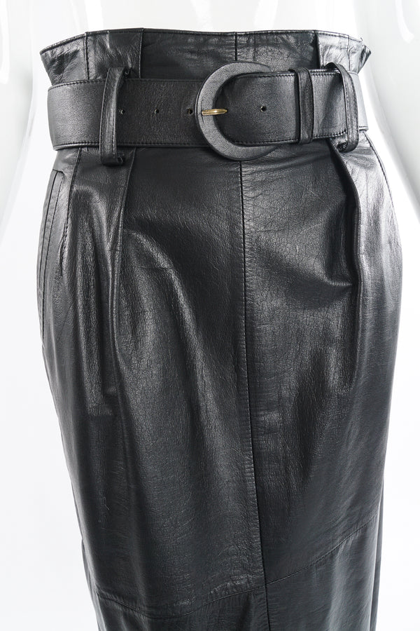 Vintage Pia Rucci Leather Belted Paper Bag Skirt on Mannequin crop at Recess Los Angeles