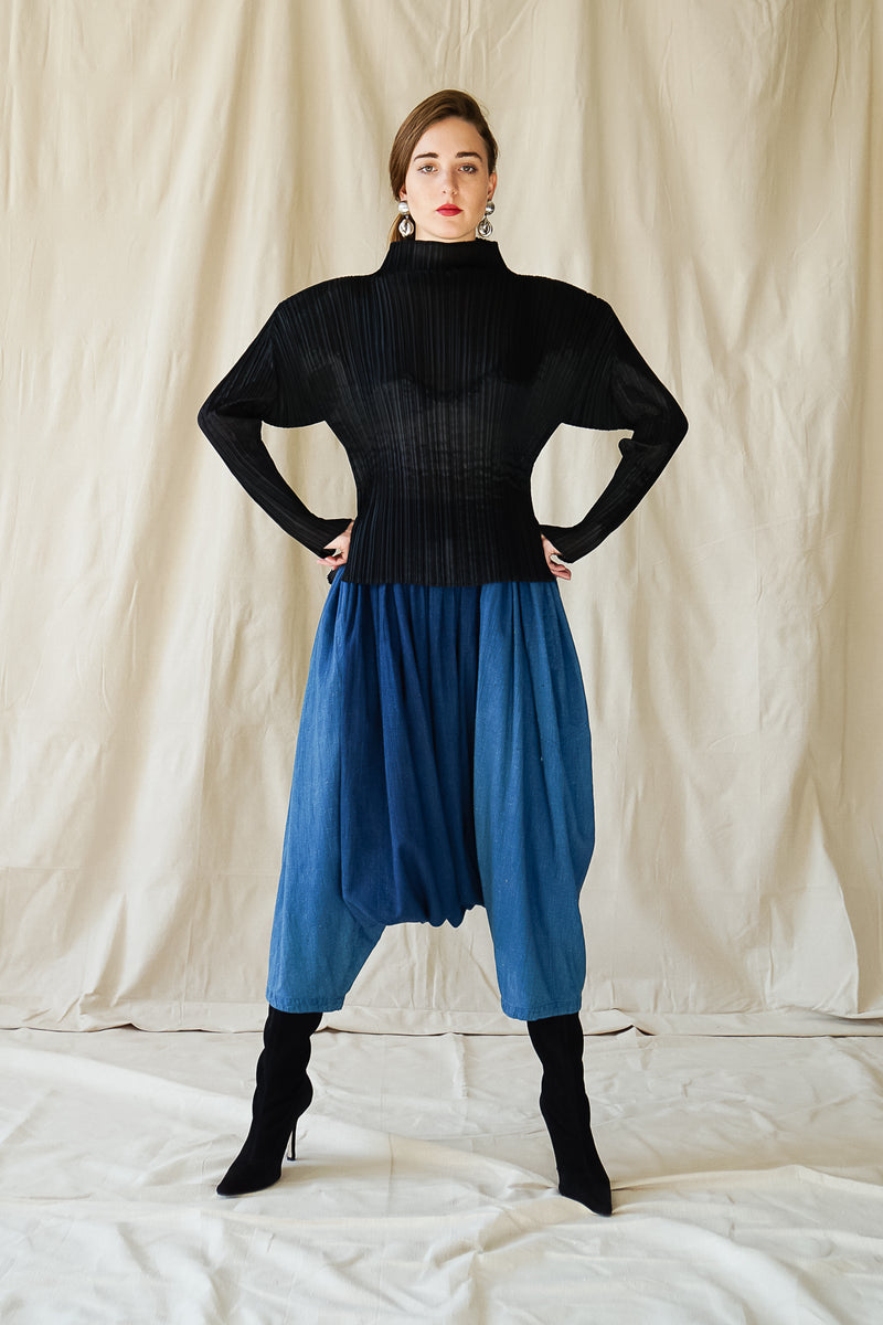 girl in Vintage Issey Miyake Pleats Please Sheer Pleated Mockneck Top w/ harem pant at Recess LA
