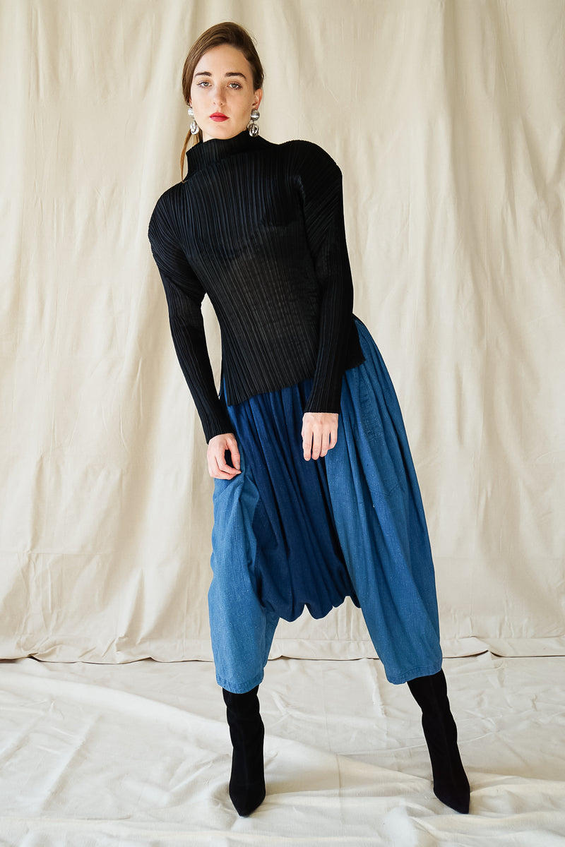 girl in Vintage Issey Miyake Plantation denim Harem Crop Pant & pleats please top at Recess LA