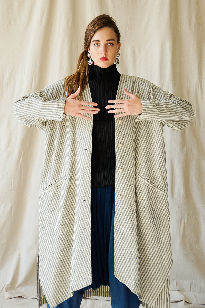 girl in Vintage Issey Miyake Cotton Striped Duster Jacket and harem pant at Recess Los Angeles