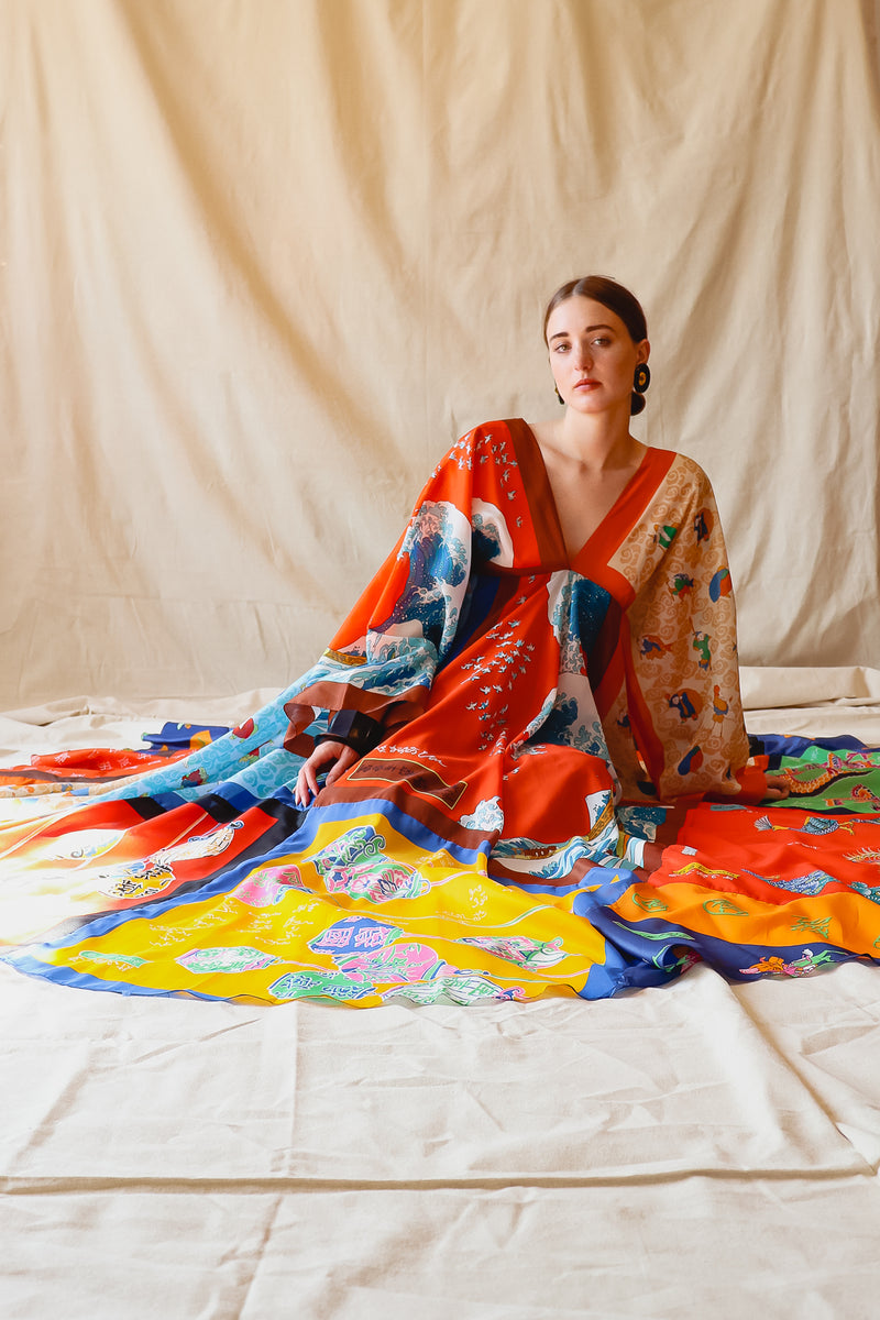 Vintage LaVetta of Beverly Hills Signature Silk Scarf Dress Caftan on Girl at Recess LA