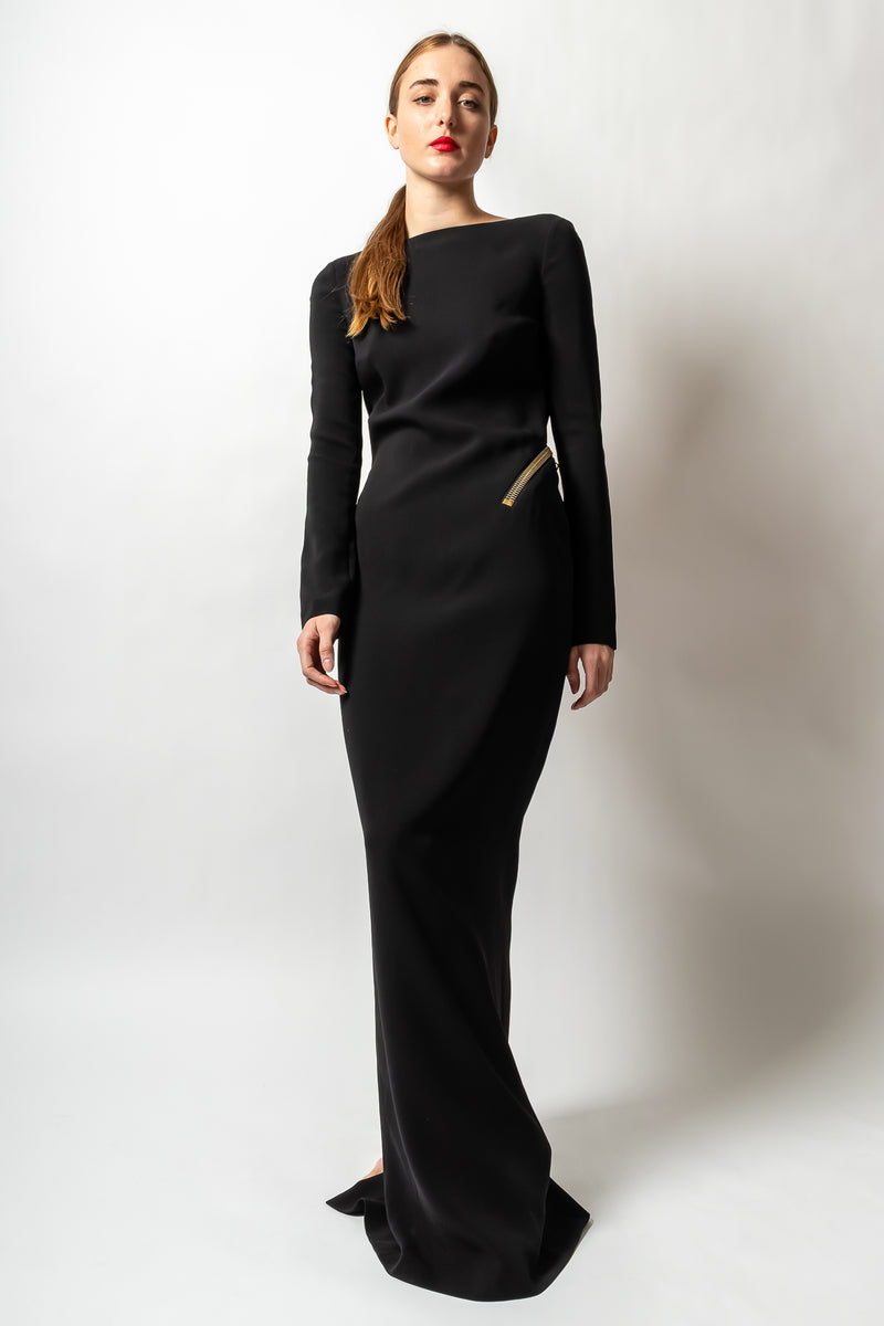 girl in Vintage Tom Ford AW 2012 Plunge Back Zipper Gown at Recess Los Angeles