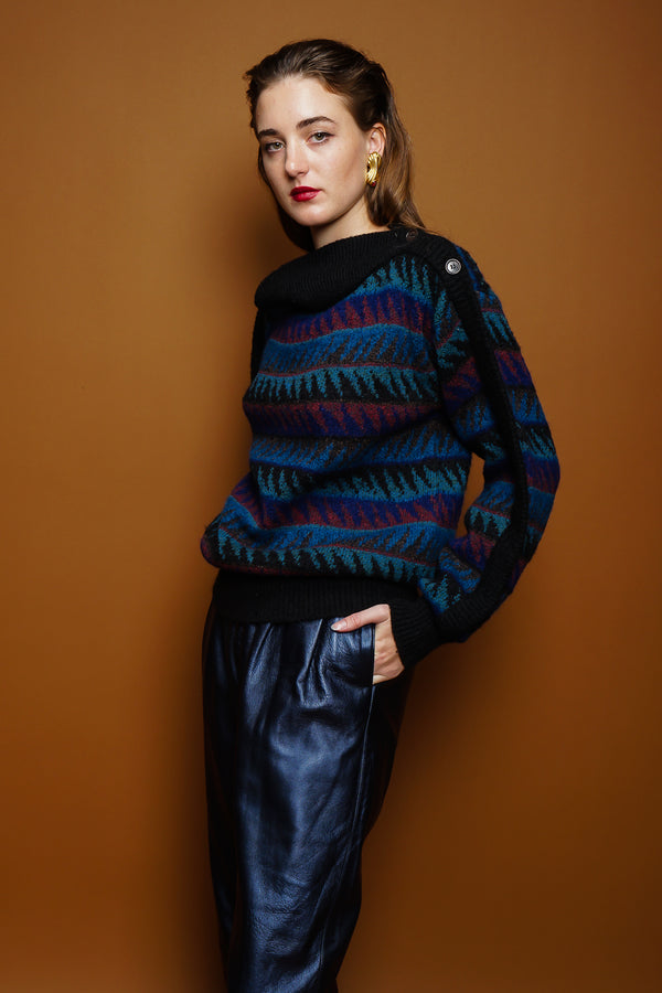 girl in Vintage Missoni Sawtooth Stripe Bateau Sweater & Erez leather pant on brown at Recess LA