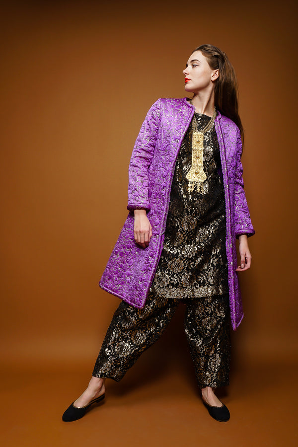 girl in Vintage Metallic Lace Tunic & Harem Pant Set w/ purple Oscar coat at Recess Los Angeles