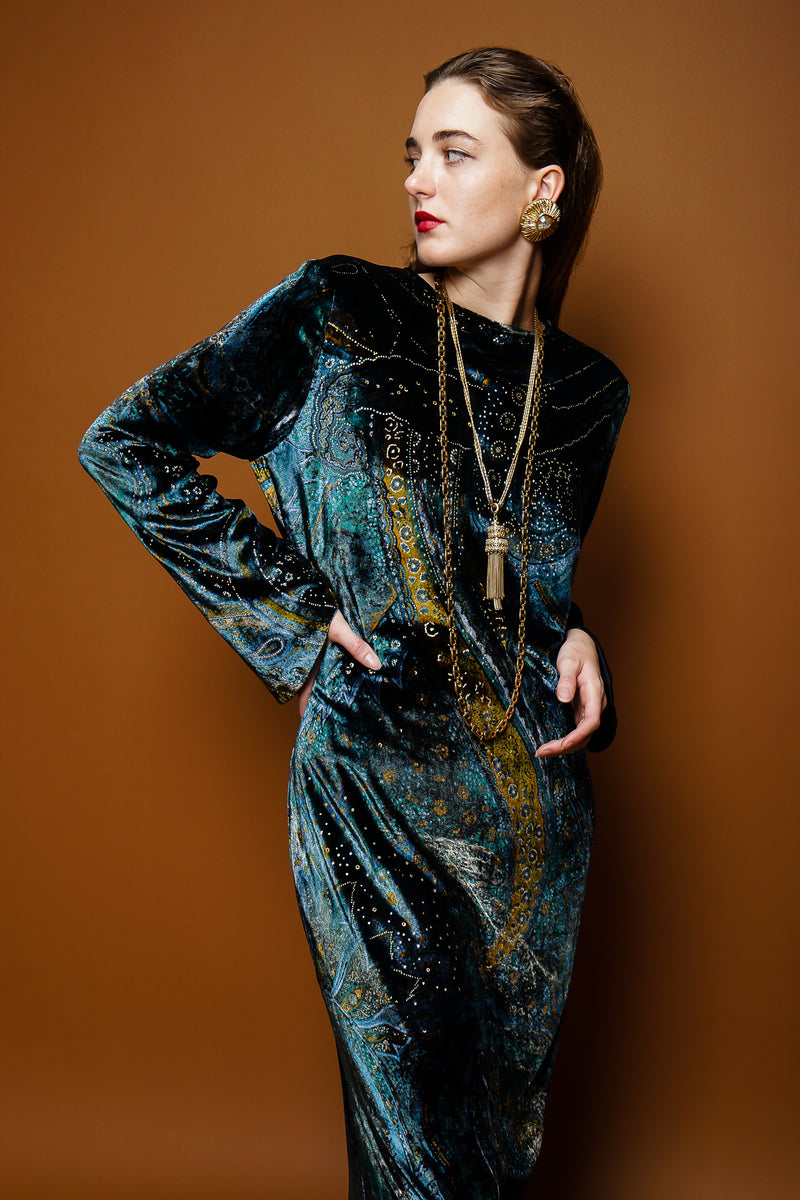 girl in Vintage YSL Yves Saint Laurent Velvet Cosmic Paisley Gown & necklaces on brown at Recess LA